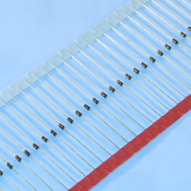 Diodo al silicio assiale 1N4148 - 100V 200mA alta velocità. (conf. 100 pezzi)